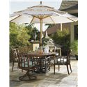 Tommy Bahama Outdoor Living Ocean Club Resort 6 Piece Round Table Dining Set w/ Umbrella - Item Number: 3120-870TB+WT+2x13+2x13SR+3100-610