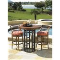 Tommy Bahama Outdoor Living Ocean Club Resort 3 Piece Bar Height Bistro Dining Set with 38-Inch Round Top Table and Ladder Back Chairs