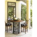 Tommy Bahama Outdoor Living Ocean Club Resort 3 Piece Counter Height Bistro Dining Set with 38-Inch Round Top Table and Ladder Back Chairs