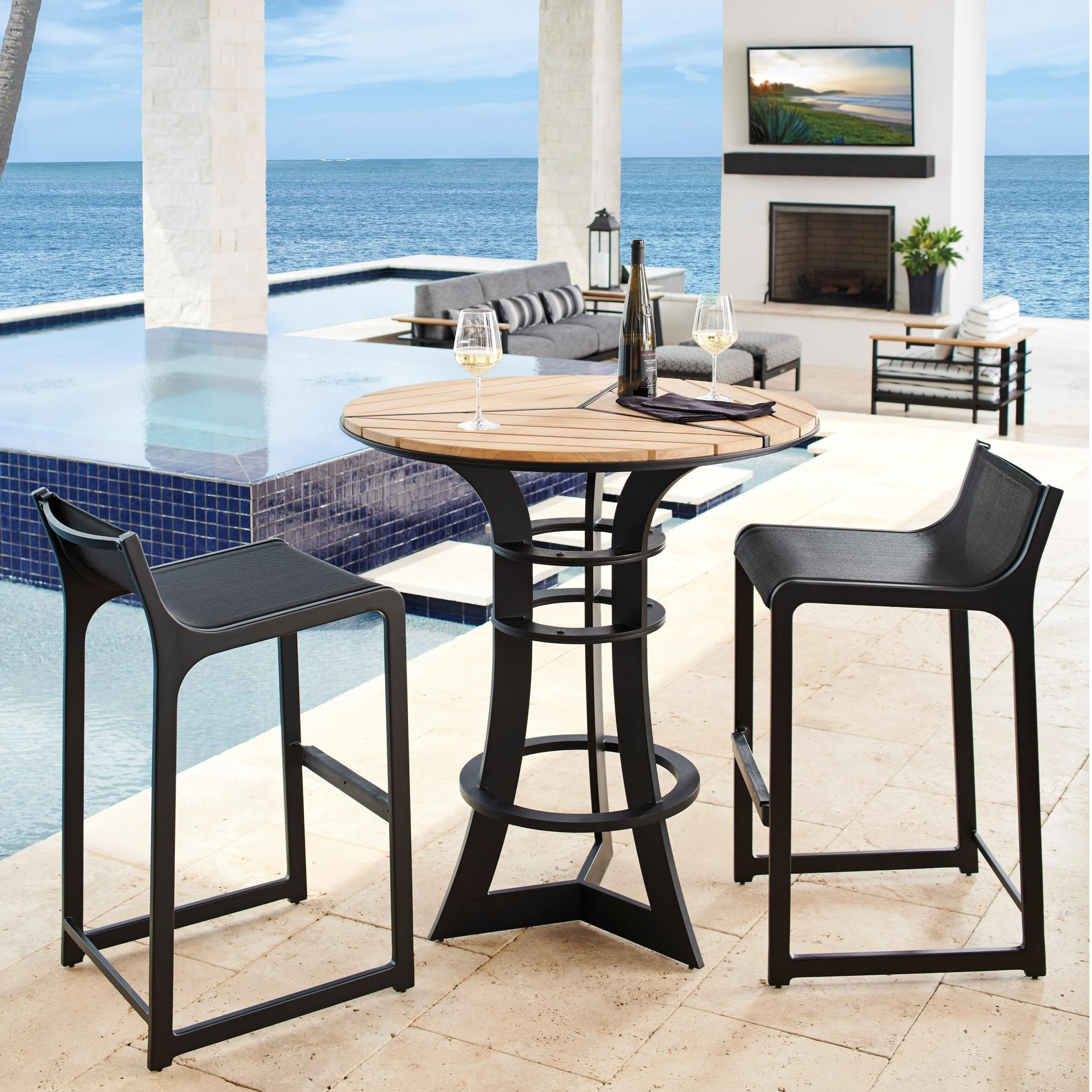 South Beach 3-Piece Outdoor Bistro Set w/ Bar Stools by Tommy Bahama Outdoor Living at Baer's Furniture