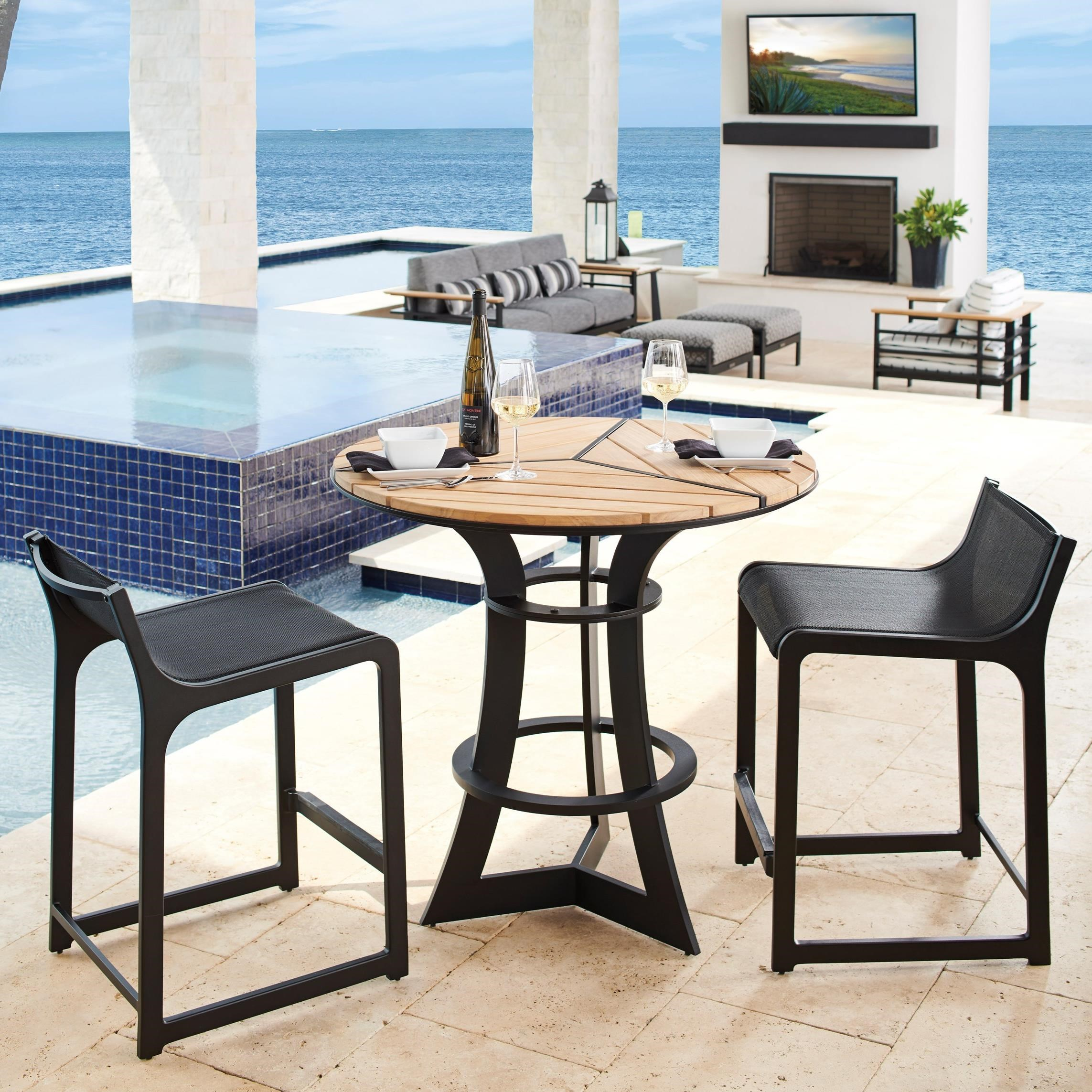 South Beach 3-Piece Outdoor Bistro Set w/ Counter Stools by Tommy Bahama Outdoor Living at Baer's Furniture