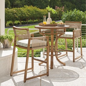 3-Piece Outdoor Bistro Set w/ Bar Stools