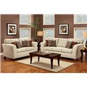Townhouse 3100 Contemporary Flared Track Arm Sofa with Accent Pillows - Shown with Coordinating Loveseat