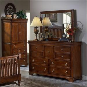 Trademaster Lansing Cherry Drawer Dresser & Landscape Mirror Combo