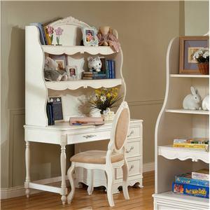 Trademaster Michelle Single Pedestal Desk & Hutch Unit