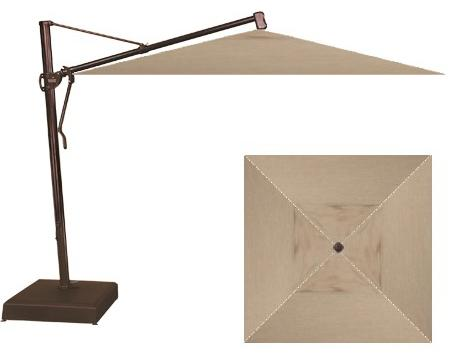 "Belfort Umbrellas Cantilever Umbrellas 10"" Square Cantilever Umbrella with Base - Item Number: AKZSQV-00-4818+AKZ-00"