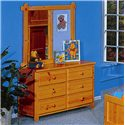 Trendwood Bayview Landscape Mirror with Cork Board  - Shown with Six Drawer Dresser