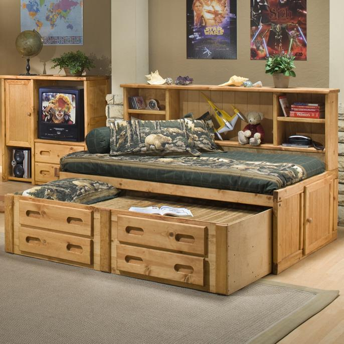 Trendwood Bunkhouse Twin Cheyenne Bookcase Bed with Trundle - Item Number: 4116+17+18+23