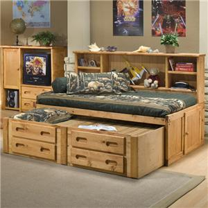 Trendwood Bunkhouse Full Cheyenne Bookcase Bed with Trundle
