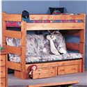 Trendwood Bunkhouse Twin Futon Bunk Bed - Item Number: 4705+4706+4707UN+4713