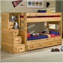 Trendwood Bunkhouse Twin/Twin Wrangler Bunk Bed with Storage - Shown with Stairway Chest and 2 Drawer Underdresser