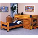 Trendwood Bunkhouse Twin Caster Youth Bed - Shown in Room Setting with Buckaroo Junior Loft Bed, 3 Drawer Chest and 3 Drawer Stand