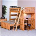 Trendwood Bunkhouse Twin / Full Roundup Loft Bed with Desk End Compartment