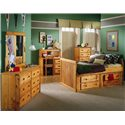Trendwood Bunkhouse Twin Roper Captain's Bed with 4 Drawer Underdresser - Shown in Room Setting with 6 Drawer Dresser with Landscape Mirror and 5 Drawer Chest