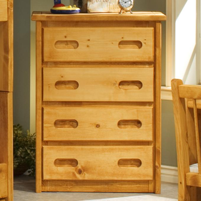 Trendwood Bunkhouse 4 Drawer Chest With Carved Handles