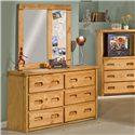 Trendwood Bunkhouse 6 Drawer Dresser & Landscape Mirror with Corkboard - Shown with mirror configured in opposite way