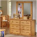 Trendwood Bunkhouse 6 Drawer Pine Dresser with Carved Handles - Shown with Mirror