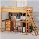 Trendwood Bunkhouse Bunkhouse 3 Drawer Stand - Shown in Room Setting with Montana Twin Bunk Bed Loft with Ladder, Desk Top, Universal Bunkshelf, Utility Stand and Ladder