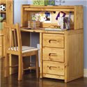 Trendwood Bunkhouse Single Pedestal Student Desk with Corral Hutch - Shown with Desk Chair