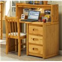 Trendwood Bunkhouse Single Pedestal Student Desk - Shown with Hutch and Desk Chair