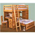 Trendwood Bunkhouse Twin/Twin Bronco Loft Bed - Item Number: 4797+96+93+76+77+98+99+2x95TU