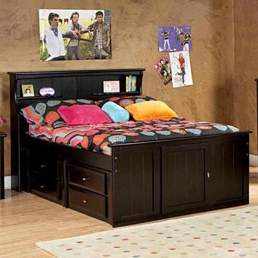Full Bookcase Bed with Footboard Storage