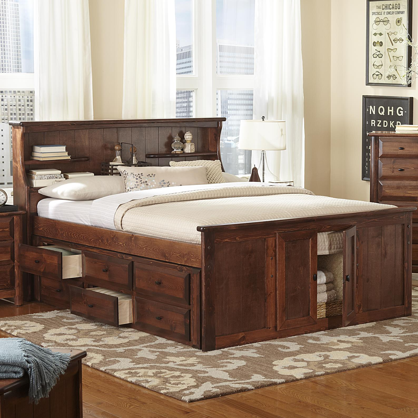 Picture of: Trendwood Laguna Queen Book Case Bed W Footboard Storage Conlin S Furniture Bookcase Beds