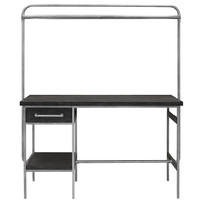 Trisha Yearwood Home Collection By Klaussner City Limits Contemporary Wood And Metal Kitchen Island With Overhead Shelf Wayside Furniture Kitchen Islands