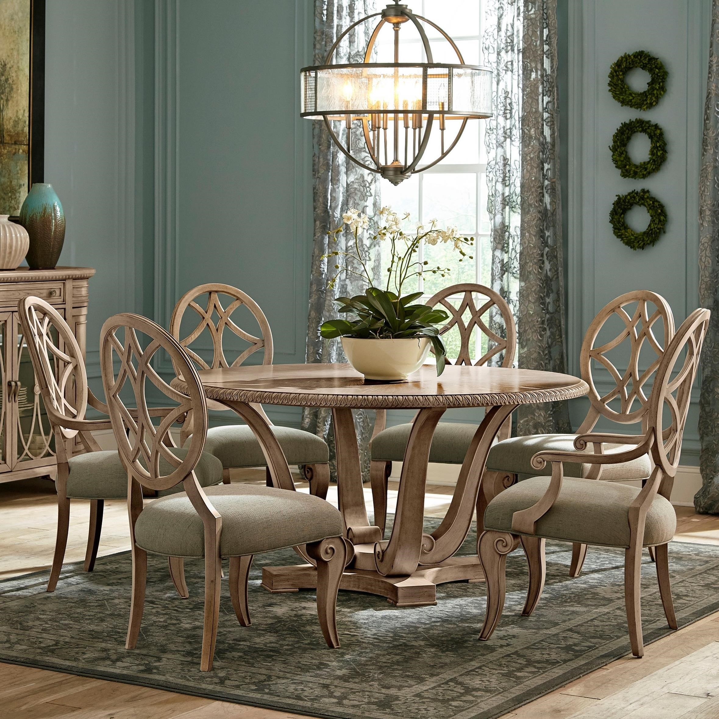 Jasper County Seven Piece Vintage Dining Set with Dogwood Round Table by  Trisha Yearwood Home Collection by Klaussner at Furniture Barn