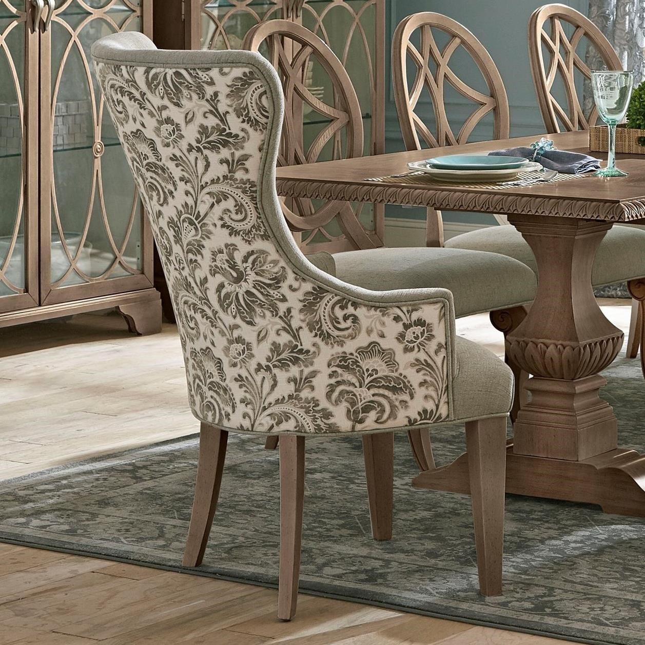 Picture of: Trisha Yearwood Home Collection By Klaussner Jasper County 791 906 Drc Vintage Dining Room Host Chair In Two Tone Fabric Hudson S Furniture Dining Arm Chairs