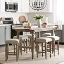 Trisha Yearwood Home Collection by Klaussner Nashville 7-Piece Counter Height Dining Set - Item Number: 750-036 DRT+6X924 STOOL