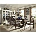 Trisha Yearwood Home Collection by Klaussner Trisha Yearwood Home 9 Piece Table and Chair Set with Curio China - Item Number: 920-102T+B+4x900+2x905+919-893C