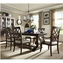 Trisha Yearwood Home Collection by Klaussner Trisha Yearwood Home Trestle Table and Chairs Set - Item Number: 920-102TDRTT+DRTB+2x905DRC+4x900DRC