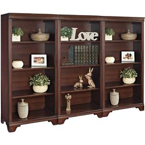 "Turnkey Products Belcourt 55"" Tall Bookcase Wall With 3 Bookcases"