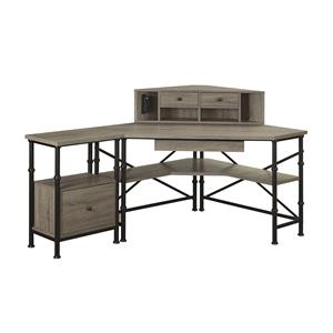Turnkey Products Durham Corner Desk, Hutch, and File Cabinet