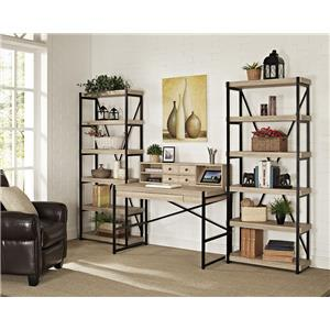 "Turnkey Products Emery 48"" Desk, Hutch, And Two 72"" Bookcases"