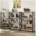 "Turnkey Products Emery 44"" Tall Bookcase Wall With 3 Bookcases - Item Number: ER-EME-K-OBK44X3-S"