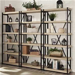 "Turnkey Products Emery 72"" Tall Bookcase Wall With 3 Bookcases"