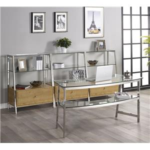 "Turnkey Products Geo 62"" Glass Writing Desk and 3 Bookcases"