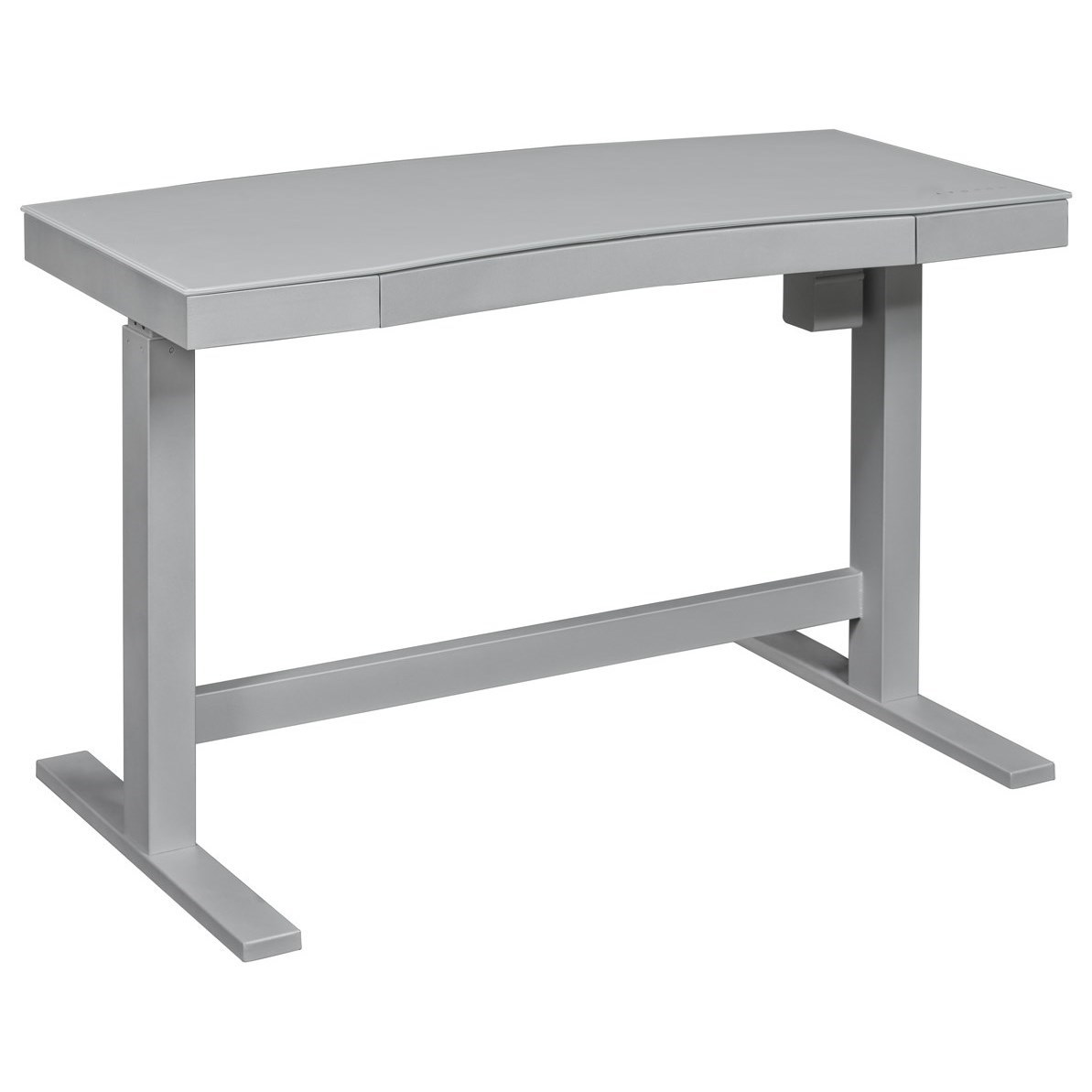 Curved White / Grey Adjustable Desk