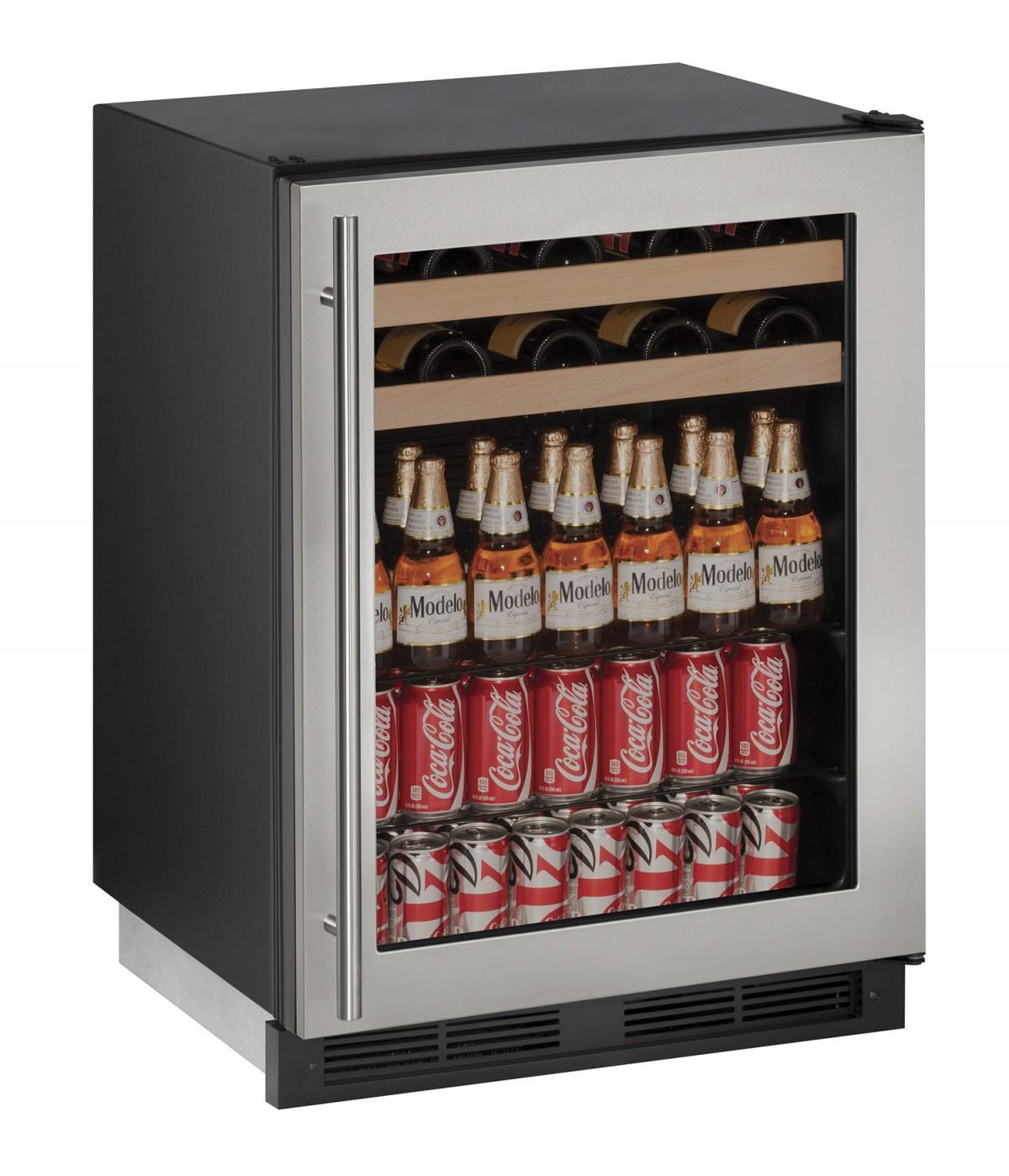 """U-Line Beverage Centers 5.4 cu ft. 1000 Series 24"""" Beverage Center - Item Number: U-1224BEVS-13A"""