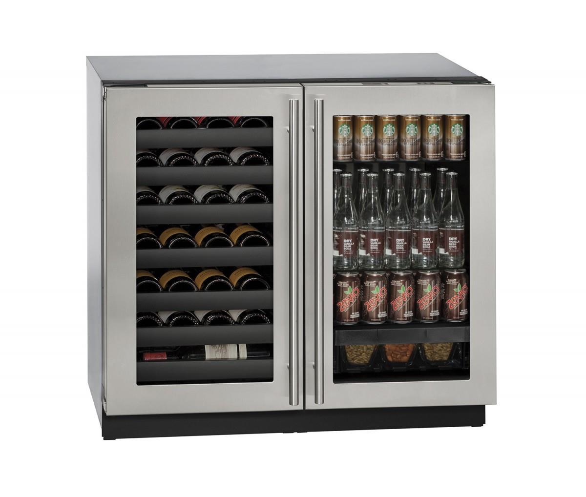 """U-Line Combo Models 36"""" Built-In Beverage Center/Wine Storage - Item Number: U-3036BVWCS-00A"""