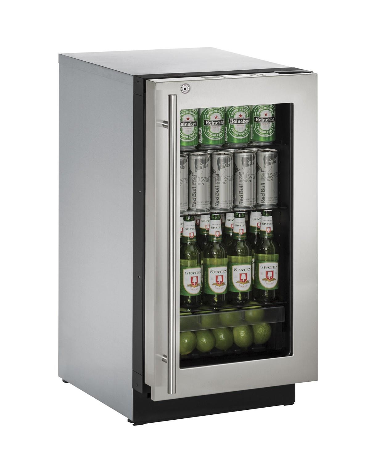 """U-Line Refrigerators 18"""" Glass Door Compact Refrigerator - Item Number: U-3018RGLS-13A"""