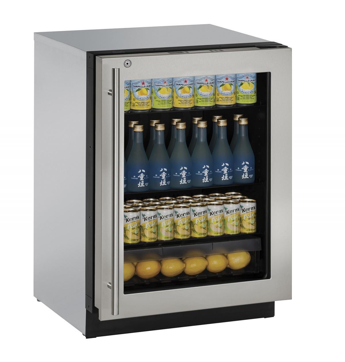 """U-Line Refrigerators 24"""" Glass Door Compact Refrigerator - Item Number: U-3024RGLS-13A"""