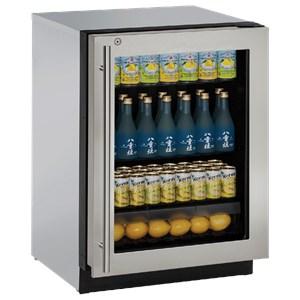 """U-Line Refrigerators 24"""" Left Hand Hinge Glass Door Refrigerator"""