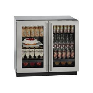 "U-Line Refrigerators 36"" Glass Door Compact Refrigerator"