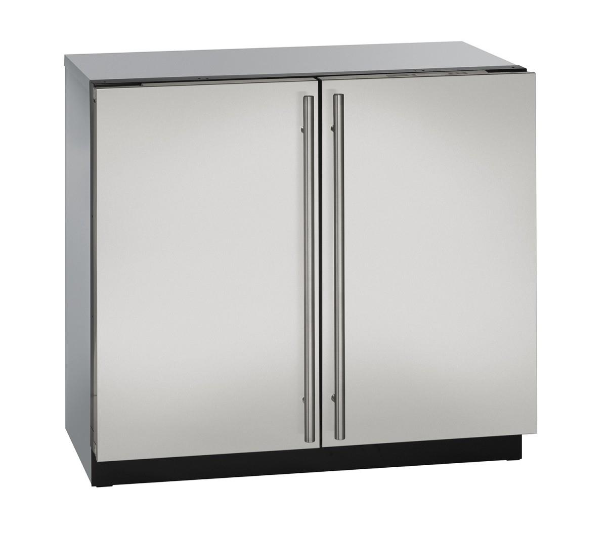 "U-Line Refrigerators 36"" Solid Double Door Compact Refrigerator - Item Number: U-3036RRS-00A"