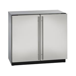 "U-Line Refrigerators 36"" Solid Double Door Compact Refrigerator"