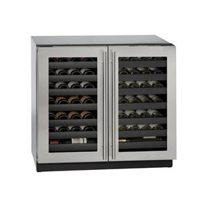 "U-Line Wine Captains - 2014 36"" Built-In Double Door Wine Storage"