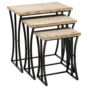 UMA Enterprises, Inc. Accent Furniture Metal/Wood Nesting Tables, Set of 3
